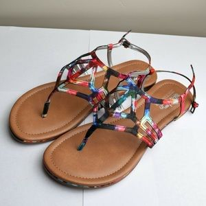 Coach and Four Watercolor Print Sandals